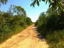Δρόμος που πηγαίνει στον ορίζοντα στοκ φωτογραφία