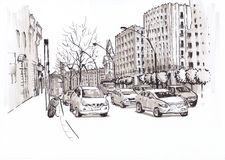Δρόμος πόλεων με τα αυτοκίνητα σκίτσο Στοκ φωτογραφία με δικαίωμα ελεύθερης χρήσης