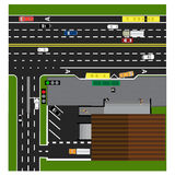 Δρόμος πλοκών, εθνική οδός, οδός, με το κατάστημα σταυροδρόμια Στάση λεωφορείου Με τα διαφορετικά αυτοκίνητα Στοκ φωτογραφίες με δικαίωμα ελεύθερης χρήσης