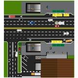Δρόμος πλοκών, εθνική οδός, οδός, με το κατάστημα Υπόγεια διασχίζοντας σταυροδρόμια Στάση λεωφορείου Στοκ Εικόνες
