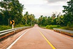 Δρόμος σε ένα τροπικό νησί στη ζούγκλα, εικόνα με το αναδρομικό tintin Στοκ Εικόνα