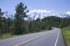 Δρόμος σε μεγάλο Teton   Στοκ Φωτογραφία