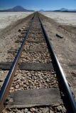 Δρόμος σιδηροδρόμων Ferrocarril de Antofagasta μια Βολιβία Αλατισμένο επίπεδο Chiguana Τμήμα του Ποτόσι boleyn Στοκ Εικόνες