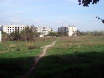 Δρόμος στα σπίτια Zaporozhye Ουκρανία στοκ φωτογραφία