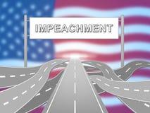 Δρόμος στην αμερικανική κατηγορία για να απομακρύνει το διεφθαρμένο Πρόεδρο ή τον πολιτικό διανυσματική απεικόνιση
