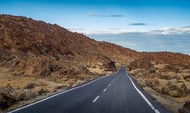 Δρόμος στην εθνική επιφύλαξη EL Teide, Tenerife Στοκ Εικόνες
