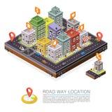 Δρόμος στην πόλη Isometric, θέση εικονικής παράστασης πόλης, διανυσματικό υπόβαθρο ελεύθερη απεικόνιση δικαιώματος