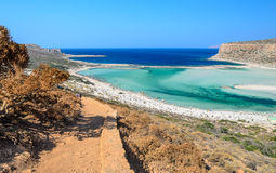 Δρόμος στην όμορφη παραλία Balos στο νησί της Κρήτης Στοκ φωτογραφίες με δικαίωμα ελεύθερης χρήσης