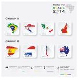 Δρόμος στη Βραζιλία 2014 αθλητισμός Infographic πρωταθλημάτων ποδοσφαίρου ελεύθερη απεικόνιση δικαιώματος
