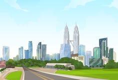 Δρόμος στη σύγχρονη εικονική παράσταση πόλης ουρανοξυστών άποψης πόλεων
