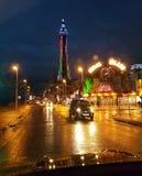 Δρόμος ταξί της Αγγλίας UK νύχτας παραλιών ευχαρίστησης του Μπλάκπουλ Στοκ φωτογραφία με δικαίωμα ελεύθερης χρήσης