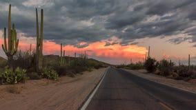 Δρόμος της Αριζόνα στο ηλιοβασίλεμα, Tucson, Αριζόνα Στοκ Εικόνες