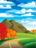 δρόμος τοπίων φθινοπώρου Απεικόνιση αποθεμάτων