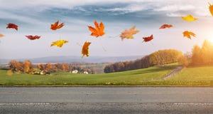 δρόμος φθινοπώρου αγροτ&i Στοκ Φωτογραφίες