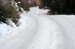 Δρόμος χειμερινών βουνών που καλύπτεται από τον πάγο, Champoluc, Ιταλία Στοκ Εικόνες