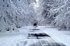 δρόμος χιονώδης Στοκ Φωτογραφία