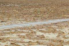 Δρόμος χωρίς την κυκλοφορία στην κατάθλιψη danakil, Αιθιοπία Αφρική Στοκ Φωτογραφία