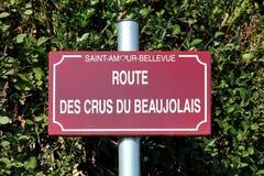 Δρόμος Beaujolais του σημαδιού κρασιού στοκ εικόνες