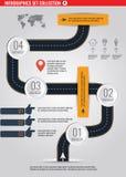 Δρόμος infographic με τη ζωηρόχρωμη διανυσματική απεικόνιση δεικτών καρφιτσών Στοκ Εικόνες
