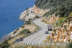 Δρόμος kas-Patara Antalya μεταξύ Στοκ Φωτογραφίες