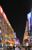Δρόμος Nanjing τή νύχτα στη Σαγγάη, Κίνα Στοκ εικόνες με δικαίωμα ελεύθερης χρήσης