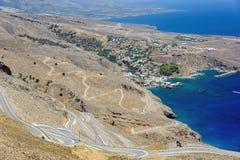 Δρόμος Serpantine σε Aradena κοντά σε Sfakia στο νησί της Κρήτης Στοκ φωτογραφία με δικαίωμα ελεύθερης χρήσης