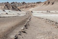 Δρόμος Valle de Λα Luna Moon στην κοιλάδα στην έρημο Atacama κοντά σε SAN Pedro de Atacama, Antofagasta - Χιλή Στοκ εικόνα με δικαίωμα ελεύθερης χρήσης