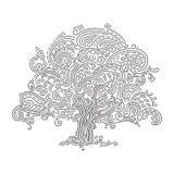 Δρύινο λογότυπο δέντρων, διάνυσμα doodle Στοκ εικόνα με δικαίωμα ελεύθερης χρήσης