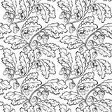 Δρύινο μαύρο άσπρο άνευ ραφής υπόβαθρο βελανιδιών φύλλων διανυσματική απεικόνιση