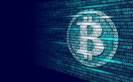 Δυαδικός κωδικός αριθμός σημαδιών cryptocurrency Bitcoin ψηφιακός Μεγάλη τεχνολογία μεταλλείας πληροφοριών στοιχείων Μπλε καμμένο Στοκ Φωτογραφίες