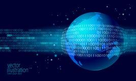 Δυαδικός κώδικας ανταλλαγής στοιχείων πλανήτη Γη σφαιρικός Μπλε καμμένος επιχείρηση επίθεσης προσωπικής πληροφορίας πληρωμής ασφά Στοκ φωτογραφία με δικαίωμα ελεύθερης χρήσης