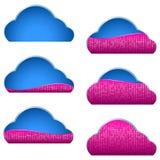 Δυαδική γεμισμένη στοιχεία μερίδα μερών εικονιδίων αποθήκευσης υπολογισμού σύννεφων διανυσματική απεικόνιση