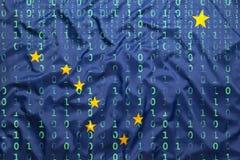 Δυαδικός κώδικας με τη σημαία της Αλάσκας, έννοια προστασίας δεδομένων Στοκ Εικόνες