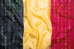 Δυαδικός κώδικας με τη σημαία του Βελγίου, έννοια προστασίας δεδομένων Στοκ εικόνα με δικαίωμα ελεύθερης χρήσης
