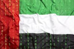 Δυαδικός κώδικας με τη σημαία των Ηνωμένων Αραβικών Εμιράτων, προστασία δεδομένων συμπυκνωμένη Στοκ Φωτογραφίες