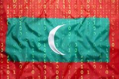 Δυαδικός κώδικας με τη σημαία των Μαλδίβες, έννοια προστασίας δεδομένων Στοκ φωτογραφία με δικαίωμα ελεύθερης χρήσης
