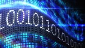 Δυαδικός κώδικας στην μπλε οθόνη εικονοκυττάρου διανυσματική απεικόνιση