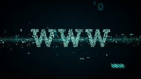 Δυαδικό μπλε λέξεων κλειδιών WWW