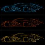 Δυναμική σκιαγραφία του αυτοκινήτου, αυτοκίνητα θέματα λογότυπων διανυσματική απεικόνιση