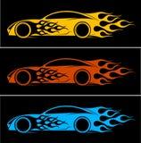 Δυναμική σκιαγραφία του αυτοκινήτου, αυτοκίνητα θέματα λογότυπων απεικόνιση αποθεμάτων