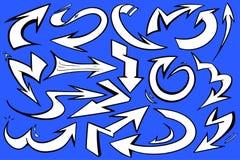 Δυναμικός διανυσματικός γραφικός βελών ύφους άσπρος με την τολμηρή μαύρη περίληψη και το μπλε υπόβαθρο ελεύθερη απεικόνιση δικαιώματος