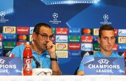 Δυναμό Kyiv β UEFA Champions League Napoli: Τύπος-διάσκεψη προ-αντιστοιχιών Στοκ Εικόνες