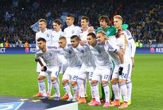 Δυναμό Kyiv παιχνιδιών FC UEFA Champions League εναντίον της πόλης του Μάντσεστερ μέσα Στοκ Εικόνες