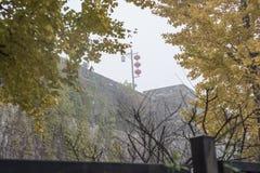 Δυναστεία το αρχαίο Castle του Ναντζίνγκ Zhonghuamen Ming στην πυκνή ομίχλη στοκ φωτογραφία
