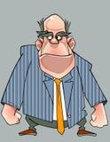 Δυσαρεστημένο άτομο κινούμενων σχεδίων σε ένα κοστούμι που στέκεται με τις πυγμές Στοκ Εικόνα