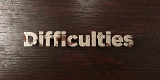 Δυσκολίες - βρώμικος ξύλινος τίτλος στο σφένδαμνο - τρισδιάστατο δικαίωμα ελεύθερη εικόνα αποθεμάτων απεικόνιση αποθεμάτων