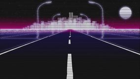 Δυσλειτουργία οδικού η αναδρομική υποβάθρου πόλεων νύχτας τρισδιάστατη δίνει φιλμ μικρού μήκους