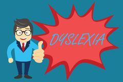 Δυσλεξία κειμένων γραψίματος λέξης Επιχειρησιακή έννοια για τις αναταραχές που περιλαμβάνουν τη δυσκολία στην εκμάθηση να διαβάζο διανυσματική απεικόνιση