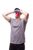 Δυστυχισμένος και αποτυχία του στόχου ή χάστε τις συγκινήσεις παιχνιδιών του τσεχικού οπαδού ποδοσφαίρου Στοκ Εικόνες