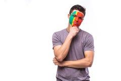 Δυστυχισμένος και αποτυχία του στόχου ή χάστε τις συγκινήσεις παιχνιδιών του πορτογαλικού οπαδού ποδοσφαίρου Στοκ Εικόνες